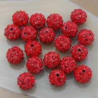 10mm Shamballa Crystal Rhinestone Pave Clay Round  Ball Beads 100PCS Beaded Hole