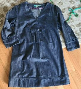 Boden Womens Blue Denim Jean  Dress Short Sleeves Front Pockets Size 8