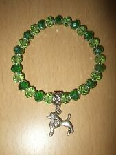 Handmade Poodle Dog Glass Beaded Bracelet Green with Charm Puppy Elastic