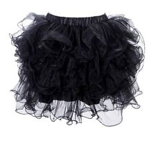 Black Layered Ruffle Puffy Petticoat Tutu Mini Skirt S/M (6-10) Aussie Seller