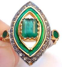 Emerald Victorian 925 Silver Cocktail Ring 1.16ct Rose Cut Diamond Green Enamel