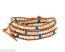 NWT Chan Luu Swarovski Crystal Beads Leather Bohemian Wrap Bracelet Silver $250