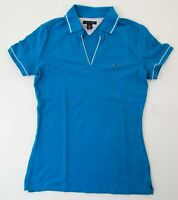 Tommy Hilfiger Poloshirt Polohemd Damen Gr.S blau uni Piquè -S961