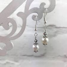 Silver White Pearl Earrings, Drop Dangle Hook, Victorian Style, Simple Elegant
