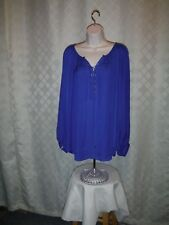 Long Sleeve Blouses Size Plus 3X,2X,JLO Pink & Blue 100% polyester NWT