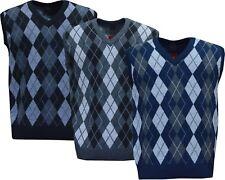 Mens V Neck Argyle Sleeveless Sweater Jumper Tank Top Jersey Golf Casual M - XXL