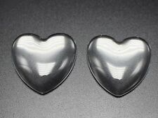 20 Transparent Clear Love Heart Dome Flatback Glass Cabochon 25mm