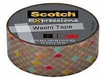 "Scotch Expressions Washi Tape, 5/8"" x 393"", Gold Diamonds"
