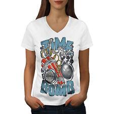 Wellcoda Time Bomb Explode Fashion Womens V-Neck T-shirt,  Graphic Design Tee