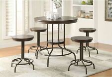 Pub Table Set 5 Piece Rustic Dining Counter Height High Top Bar Stool Kitchen