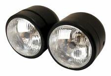Universal Twin Round Dominator Headlight Matt Black Bottom Mount E-Marked