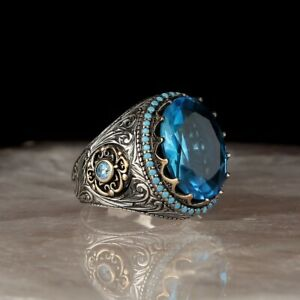 Handmade pure 925 silver Quality Ring Blue crystals all sizes wedding box RRP 60