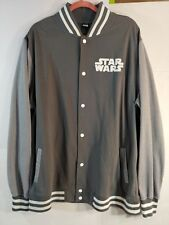 Star Wars Logo Gray Director Varsity Fleece Jacket Men's 2XXL 50/52 Lucas Films