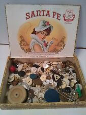 Antique Vintage Sewing Button Lot in Old Cigar Box Santa Fe estate find