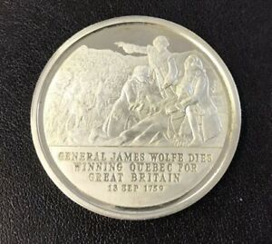 History of English Speaking People Sterling Silver Coin - Wolfe Takes Quebec