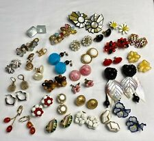 Lot of Vintage Costume Jewelry 32 Pairs of Earrings 14 Signed Coro, Marvella, +