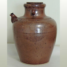 a fine old large glazed storage vessel jug with original corks china