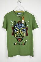 Desigual TS-MARTIN Homme Grand Vert Abstrait Broderie Casual T-Shirt 10798 MM