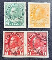 CANADA Used - Imperfs - Scott #136, 137, and pair of 138  VF/XF