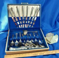55pc LOT SET Antique Silver-plate Flatware Oneida Tudor Wm Rogers in Case VTG