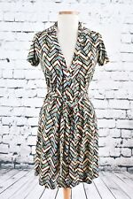 Calvin Klein CK Wrap Dress Size 4 Chevron Blue Beige Brown Short Sleeve Stretch
