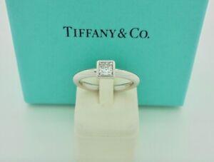 Authentic Tiffany & Co. Bezet 0.28ct Princess Diamond Engagement Ring US5