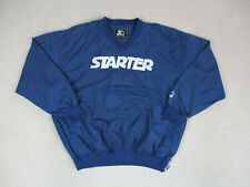 VINTAGE Starter Jacket Adult Extra Large Blue White Spell Out Pullover Coat Mens