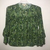 Michael Kors Women Petite Top Blouse Bell Sleeve Green Paisley Size PM