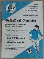 Programm 12.10.91 Stahl Walzwerk Hettstedt Quedlinburger SV Landesliga S.Anhalt