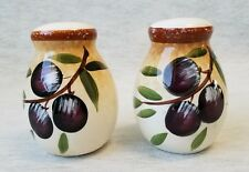 """TUSCAN SALT & PEPPER SHAKERS  3 1/4"""" tall  BEIGE to TAN with BLUE GRAPES  NEW"""