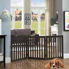 New listing UniPaws Flat Wooden 3 Panel Dog Gate Espresso Freestanding