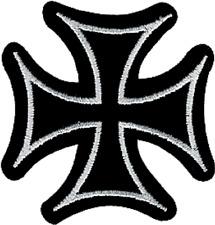 9695 Iron Cross Black & White Cutout Biker Punk Embroidered Sew Iron On Patch