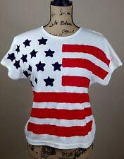 American Flag Shirt Women's Size Large White T Shirt