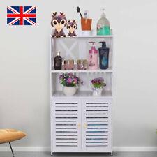 Bathroom Cabinet Shelf Cupboard Bedroom Storage Waterproof PVC Wooden Unit White