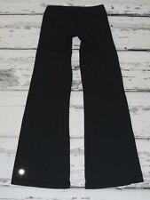 LULULEMON~BLACK~VINTAGE (HUGE REFLECTIVE LOGO) LUON®~STRETCH YOGA PANTS~8 TALL