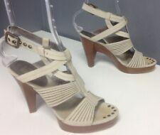BELLE SIGERSON MORRISON Beige Leather Strappy Chunky High Heel Sandal Sz 6 B4873