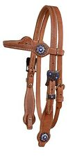 Harness leather browband bridle headstall blue crystal cowgirl classic USA H385