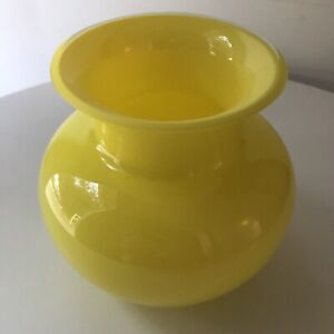 Crate and Barrel Zest Vase Yellow Multilayered Thick Glossy Glass Made in Poland