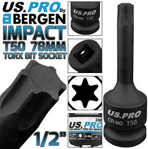 "BERGEN T50 IMPACT TORX Bit Socket 1/2""Dr TRX50 78mm Long Reach Impact Star Torx"