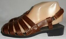 BASIC EDITIONS, LADIES  BROWN LEATHER FISHERMAN SANDAL, SIZE 6 1/2 W