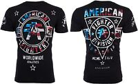 AMERICAN FIGHTER Mens T-Shirt SILVER LAKE PATRIOT Biker USA FLAG Gym MMA UFC $40
