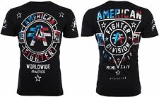 AMERICAN FIGHTER Mens T-Shirt SILVER LAKE PATRIOT Biker USA FLAG Gym MMA UFC $40