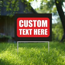 Custom Text Here Yard Sign Corrugate Plastic With H Stakes Individual Design