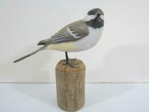 Peter Peltz (1915-2001) Cape Cod Carved Chickadee Bird - Signed