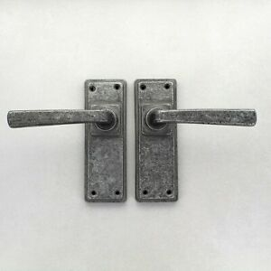 "6"" Cube Pewter Lever Door Handles Set Latch Lock Bathroom Heavy Pewter Handle"