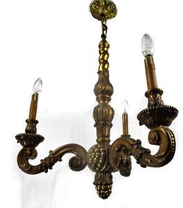 Vintage Ornate Hand Carved wood Chandelier 3 lights arms Ceiling Grapes Lovely