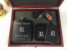 Personalized Engraved Custom Gift Set Knife, Flask, Lighter Groomsmen Wedding