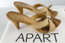APART Pantolette Clogs 37 Nubuk Wildleder geprägt Pumps Sandaletten beige hellbr