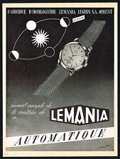 1950's Vintage 1953 Lemania Automatic Watch Mid Century Modern Art Print AD