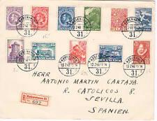 Dinamarca. Carta circulada por correo certificado con 11 sellos